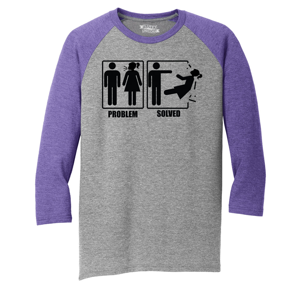 Problem Solved Mens Tri-Blend 3/4 Sleeve Raglan