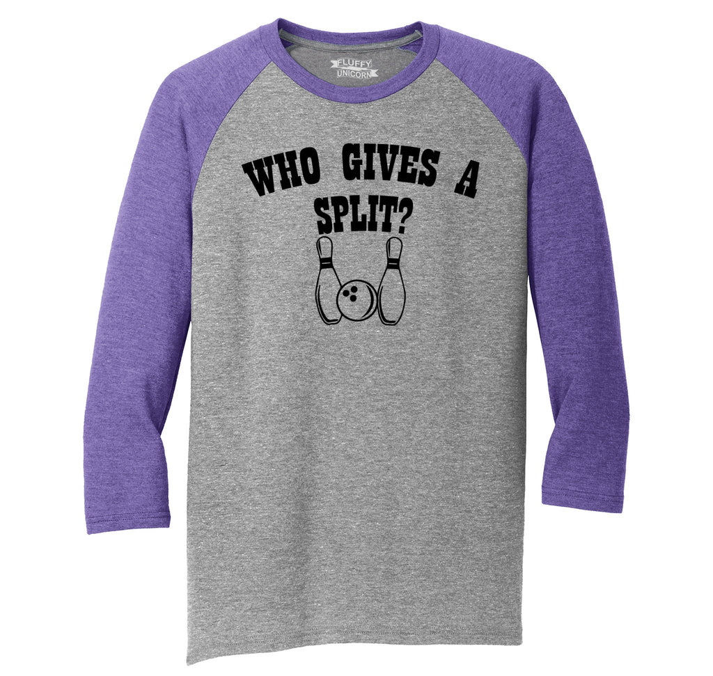 Who Gives A Split Mens Tri-Blend 3/4 Sleeve Raglan