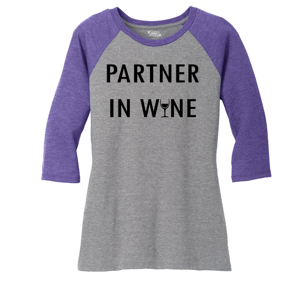 Partner In Wine Ladies Tri-Blend 3/4 Sleeve Raglan