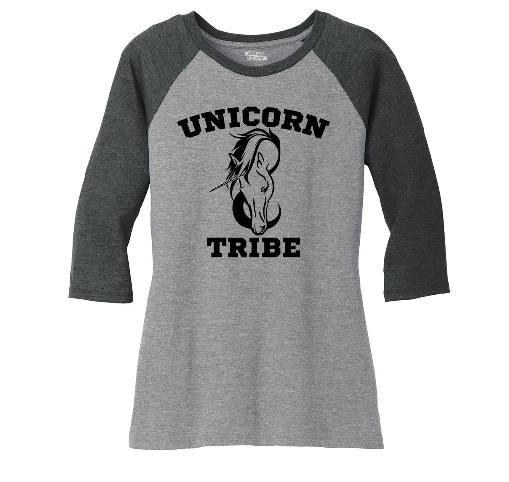 Unicorn Tribe Ladies Tri-Blend 3/4 Sleeve Raglan