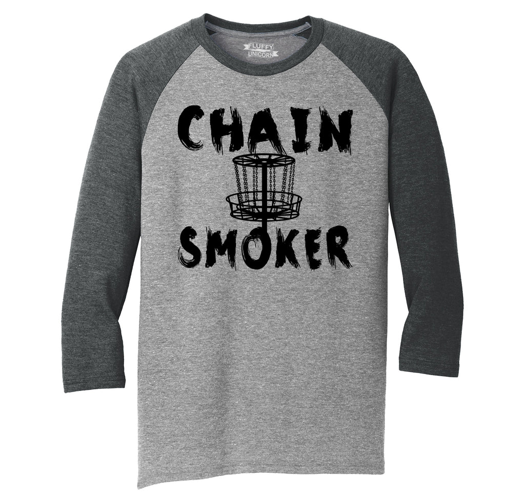 Chain Smoker Mens Tri-Blend 3/4 Sleeve Raglan