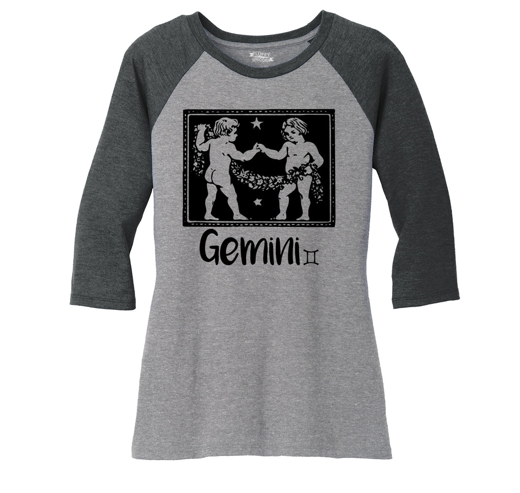Horoscope Gemini Tee Ladies Tri-Blend 3/4 Sleeve Raglan