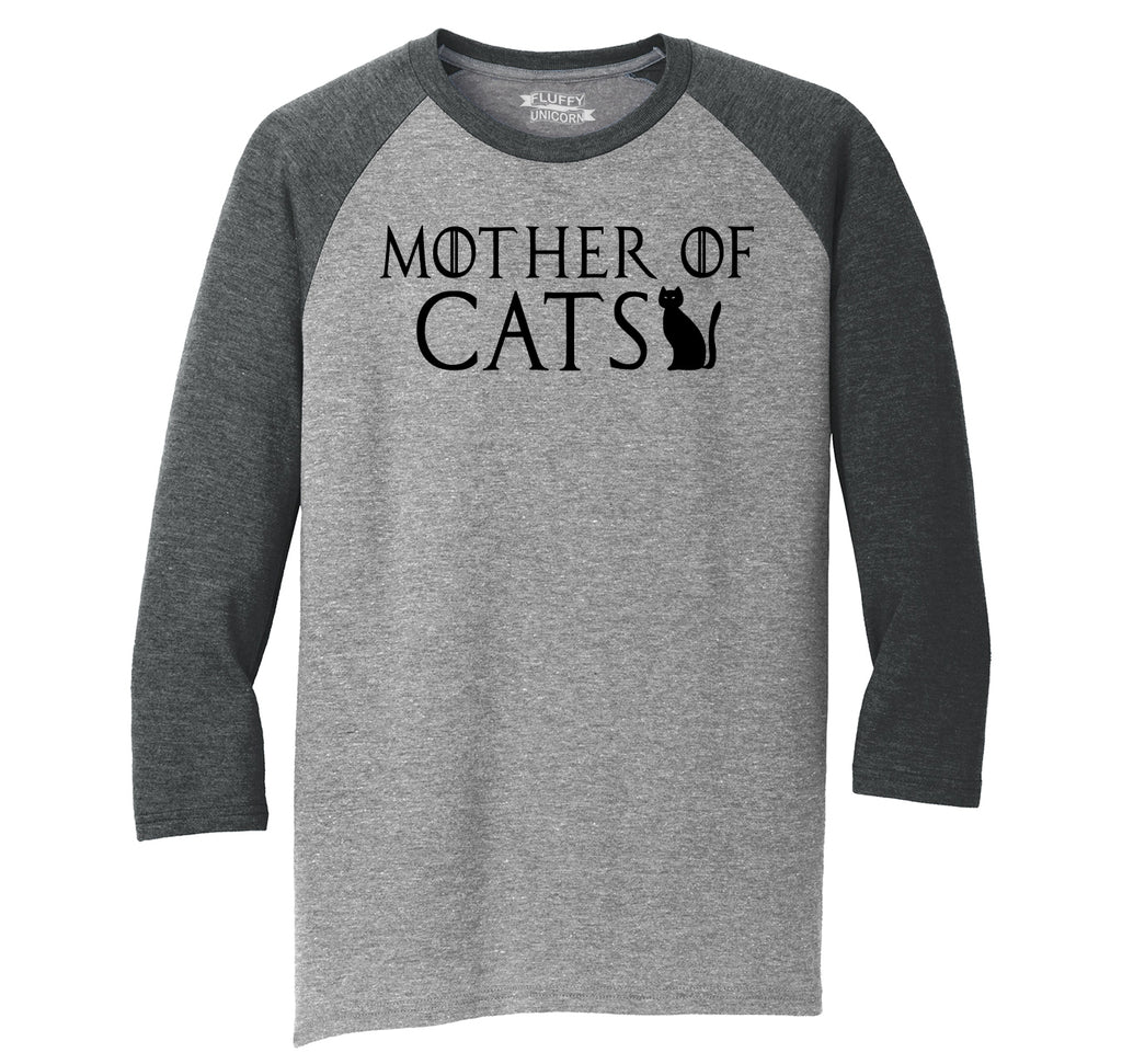Mother Of Cats Mens Tri-Blend 3/4 Sleeve Raglan