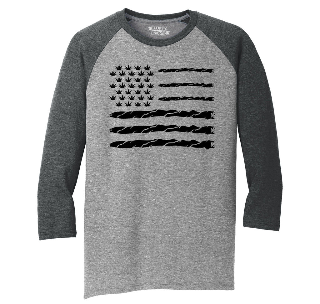 Weed Joint American Flag Mens Tri-Blend 3/4 Sleeve Raglan