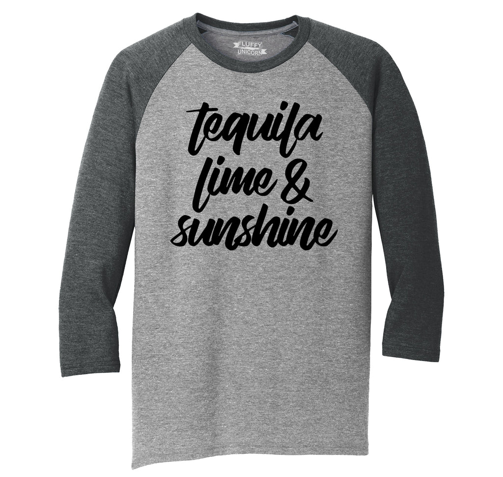 Tequila Lime and Sunshine Mens Tri-Blend 3/4 Sleeve Raglan