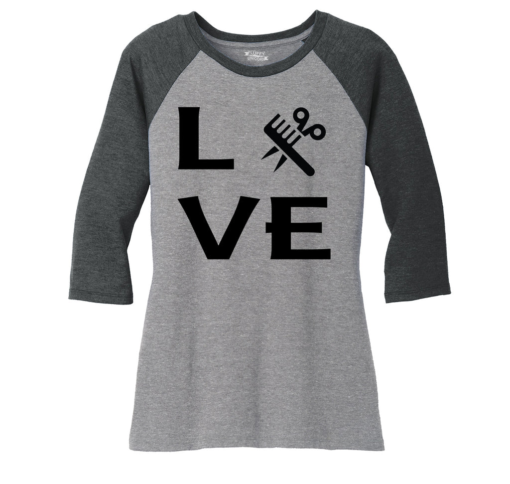 Love Hairstylist Cute Barber Gift Tee Ladies Tri-Blend 3/4 Sleeve Raglan