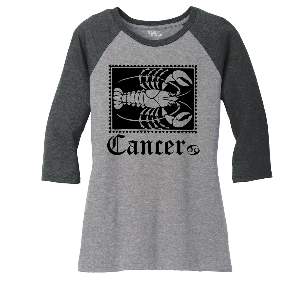 Horoscope Cancer Tee Ladies Tri-Blend 3/4 Sleeve Raglan