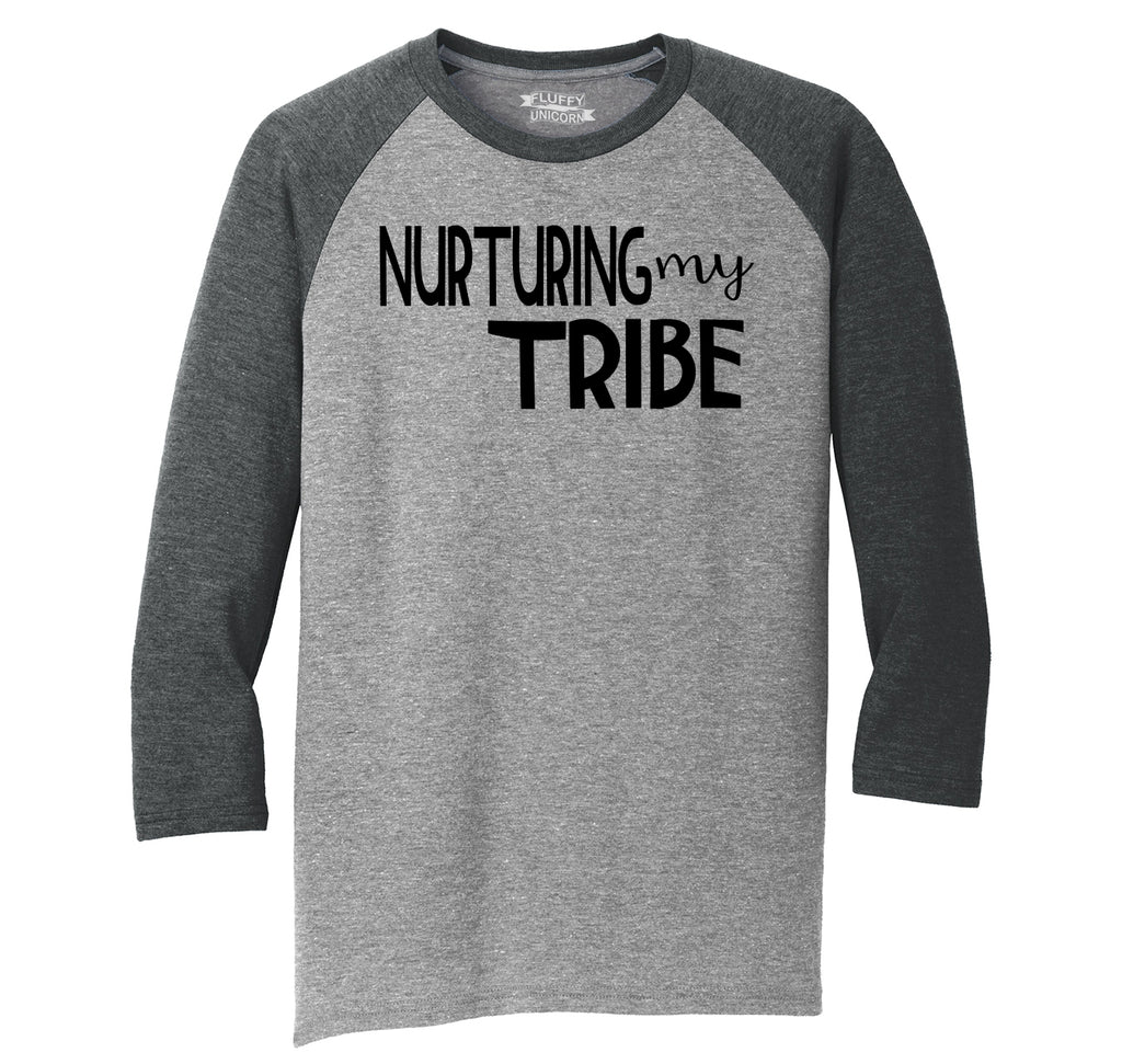 Nurturing My Tribe Mens Tri-Blend 3/4 Sleeve Raglan