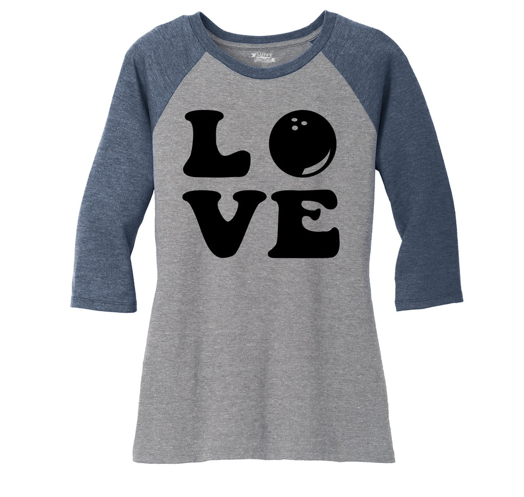Love Bowling Big Print Ladies Tri-Blend 3/4 Sleeve Raglan