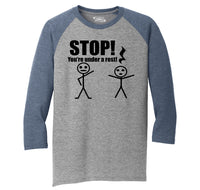 Stop You're Under A Rest Funny Music Piano Shirt Mens Tri-Blend 3/4 Sleeve Raglan