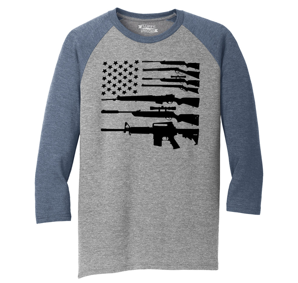 Gun American Flag Shirt Patriotic USA Pride Tee Mens Tri-Blend 3/4 Sleeve Raglan