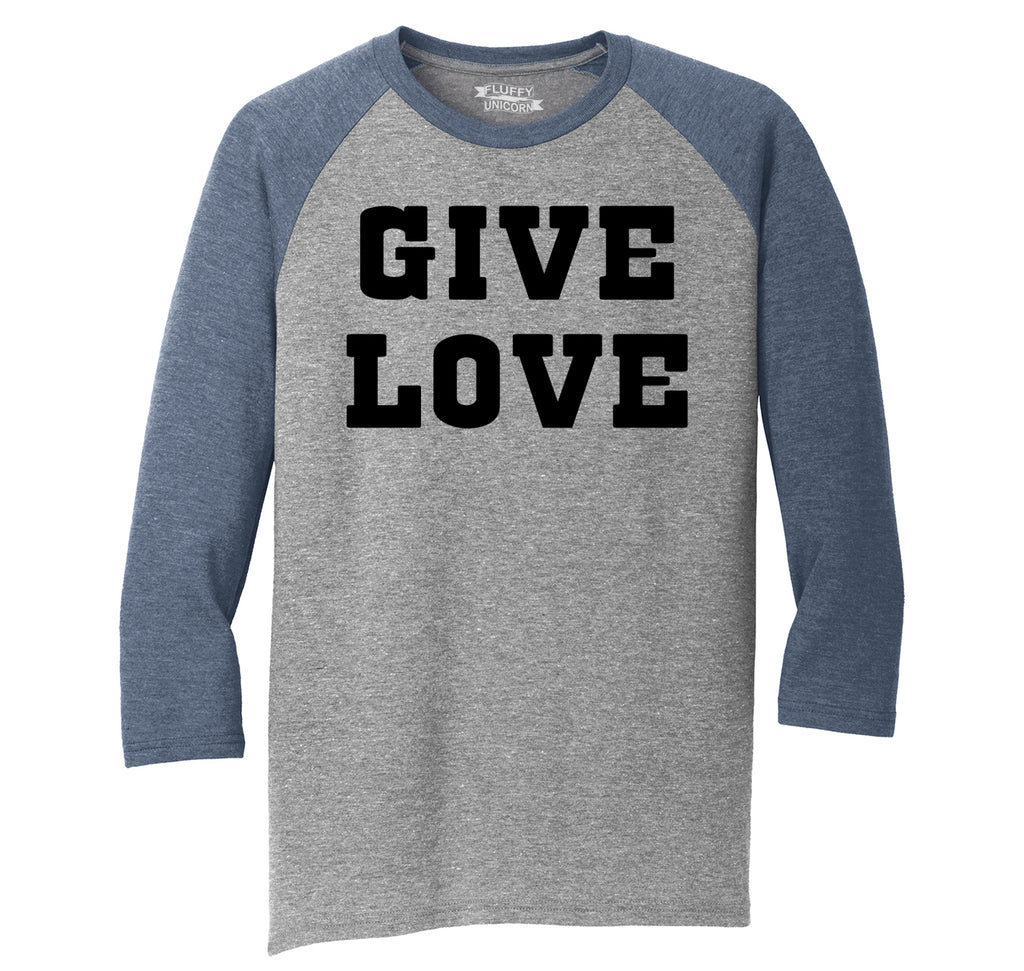 Give Love Mens Tri-Blend 3/4 Sleeve Raglan