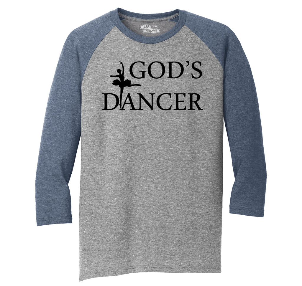 God's Dancer Mens Tri-Blend 3/4 Sleeve Raglan