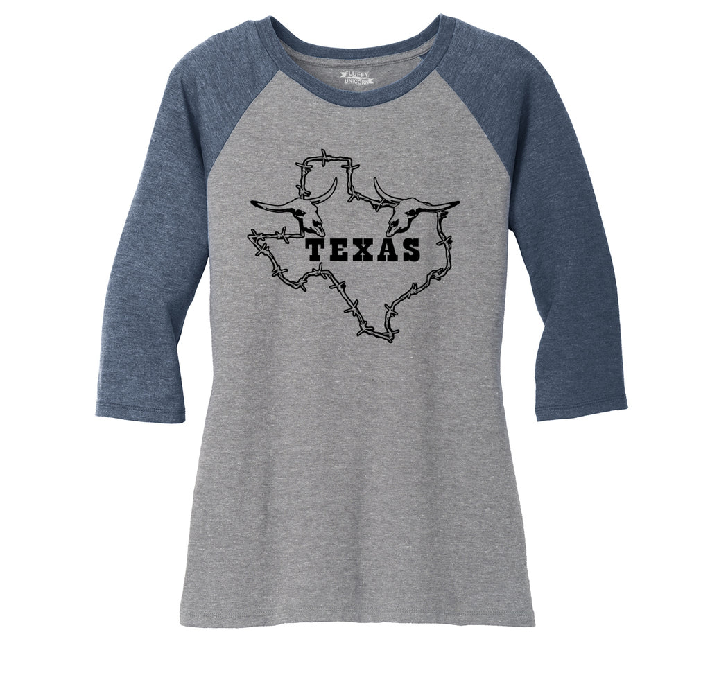 Texas Graphic Ladies Tri-Blend 3/4 Sleeve Raglan