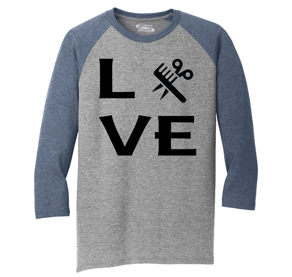 Love Hairstylist Cute Barber Gift Tee Mens Tri-Blend 3/4 Sleeve Raglan