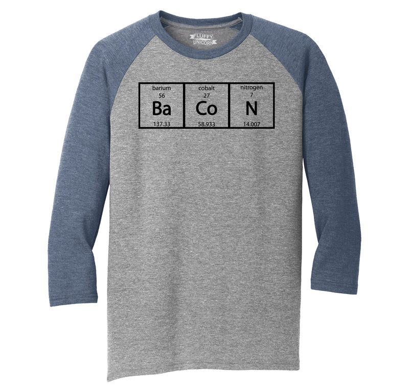 Bacon Periodic Table Mens Tri-Blend 3/4 Sleeve Raglan