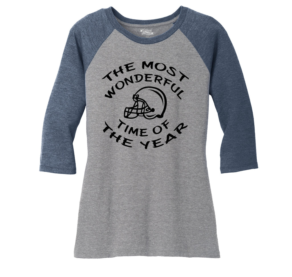 The Most Wonderful Time Of The Year Football Ladies Tri-Blend 3/4 Sleeve Raglan