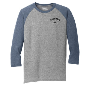 Bushwood Country Club Chest Print Mens Tri-Blend 3/4 Sleeve Raglan