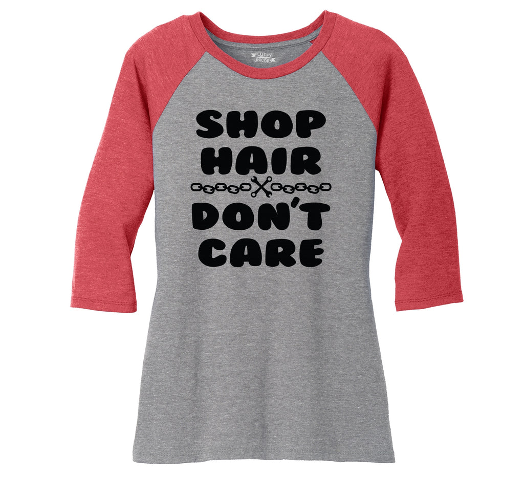 Shop Hair Don't Care Ladies Tri-Blend 3/4 Sleeve Raglan
