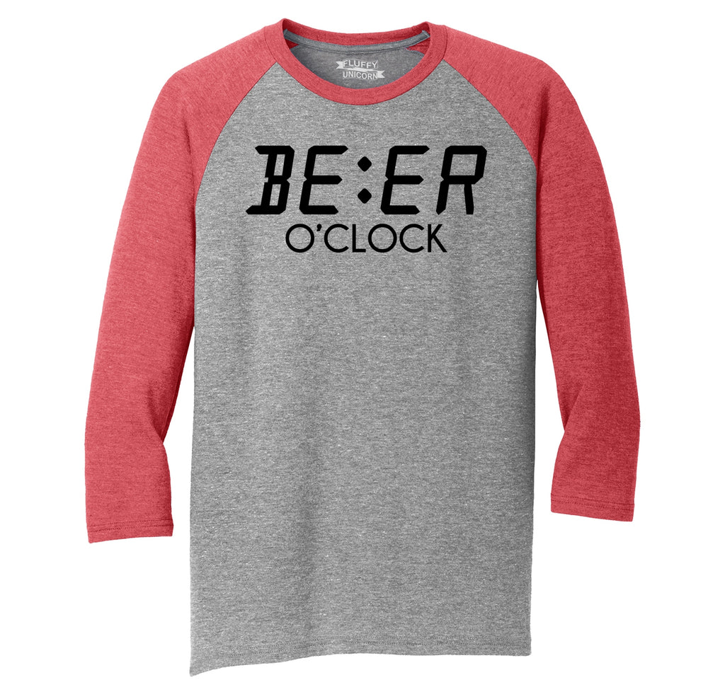 Beer O'Clock Funny Alcohol St Patty's Party Bar Tee Mens Tri-Blend 3/4 Sleeve Raglan