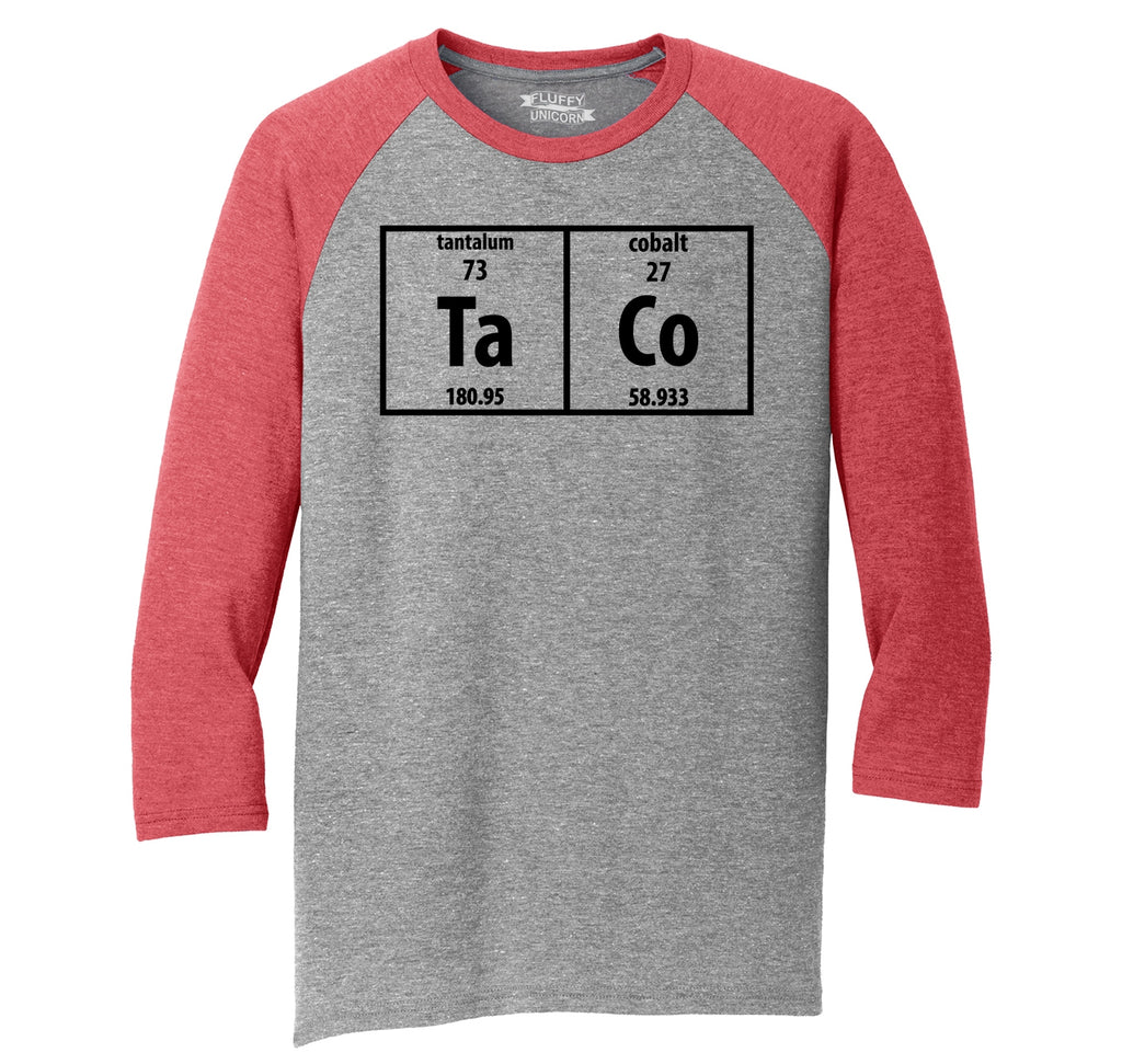 Taco Periodic Table Funny Science Shirt Geek Nerd College Mens Tri-Blend 3/4 Sleeve Raglan