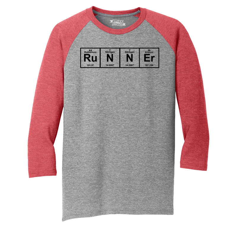 Runner - Periodic Table Of Elements Mens Tri-Blend 3/4 Sleeve Raglan