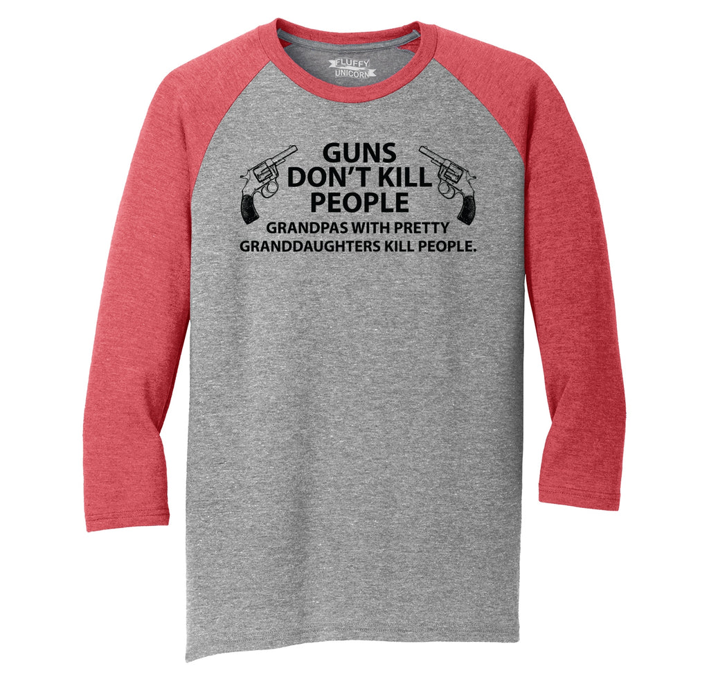 Guns Don't Kill People Grandpas Mens Tri-Blend 3/4 Sleeve Raglan