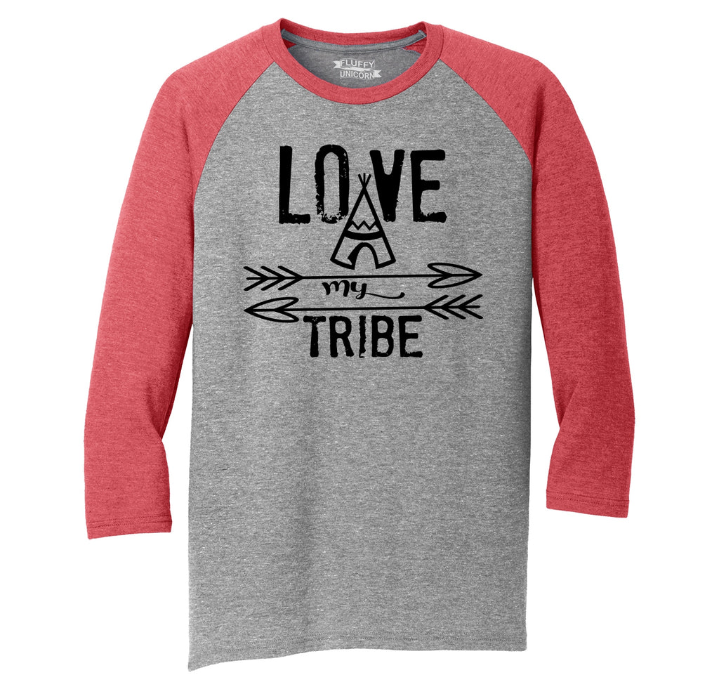 Love My Tribe Mother Father Gift Tee Mens Tri-Blend 3/4 Sleeve Raglan