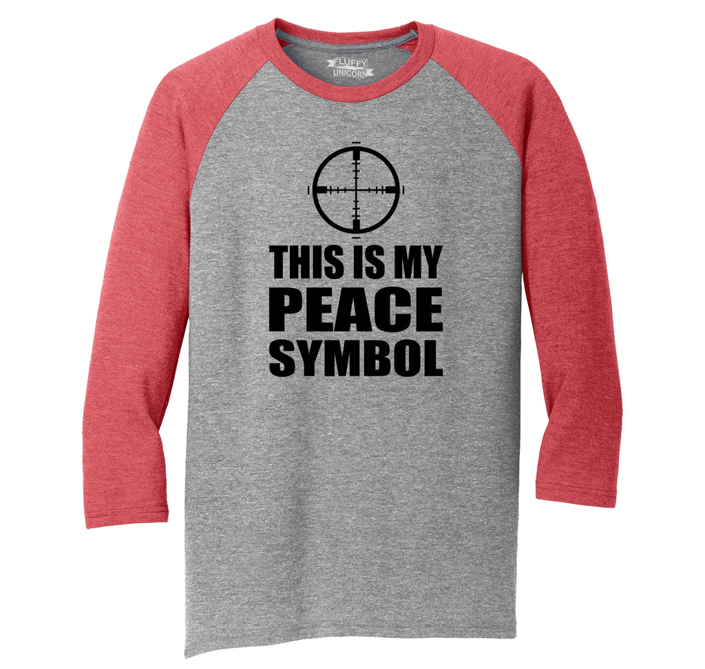 This Is My Peace Symbol Funny Gun Rights Shirt Mens Tri-Blend 3/4 Sleeve Raglan