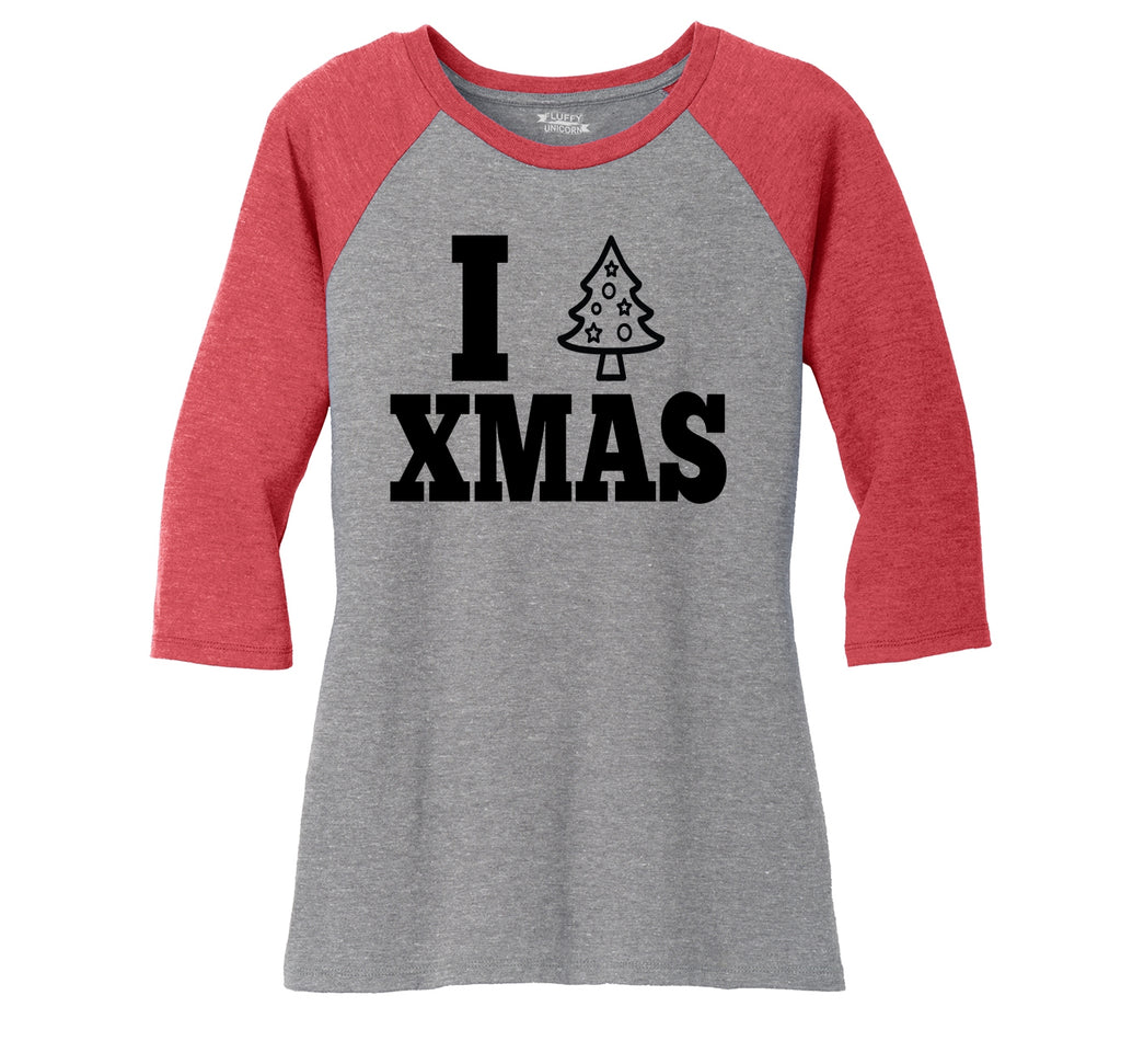 I Love Xmas Tee Christmas Party Tree Graphic Tee Ladies Tri-Blend 3/4 Sleeve Raglan