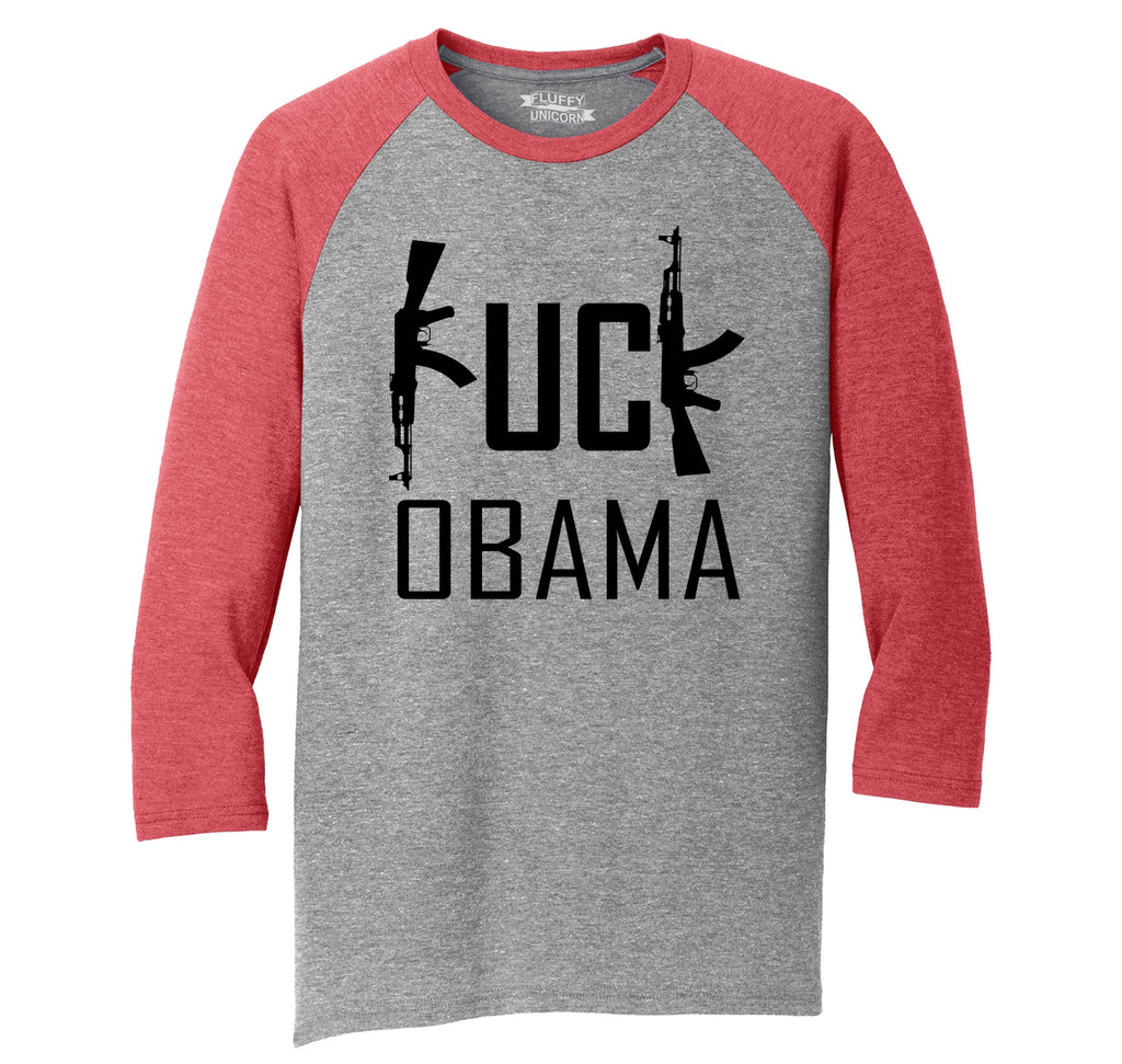Fuck Obama Mens Tri-Blend 3/4 Sleeve Raglan