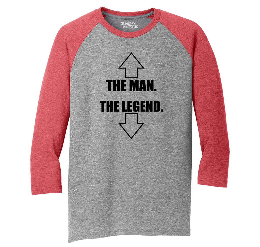The Man The Legend Mens Tri-Blend 3/4 Sleeve Raglan