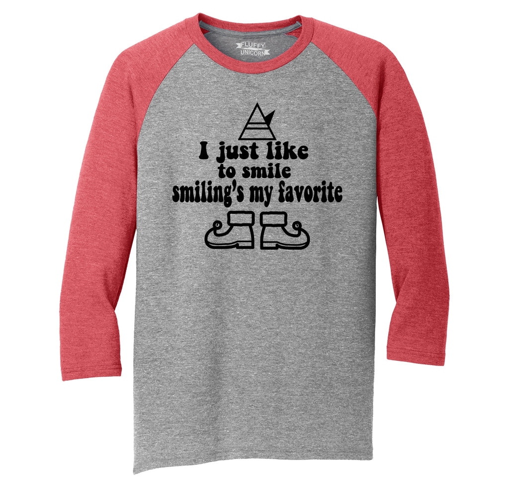 I Like To Smile Smiling's My Favorite Mens Tri-Blend 3/4 Sleeve Raglan