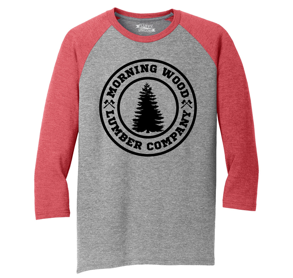 Morning Wood Lumber Company Mens Tri-Blend 3/4 Sleeve Raglan