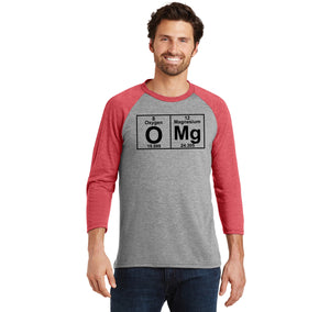 OMG Periodic Table Of Elements Mens Tri-Blend 3/4 Sleeve Raglan