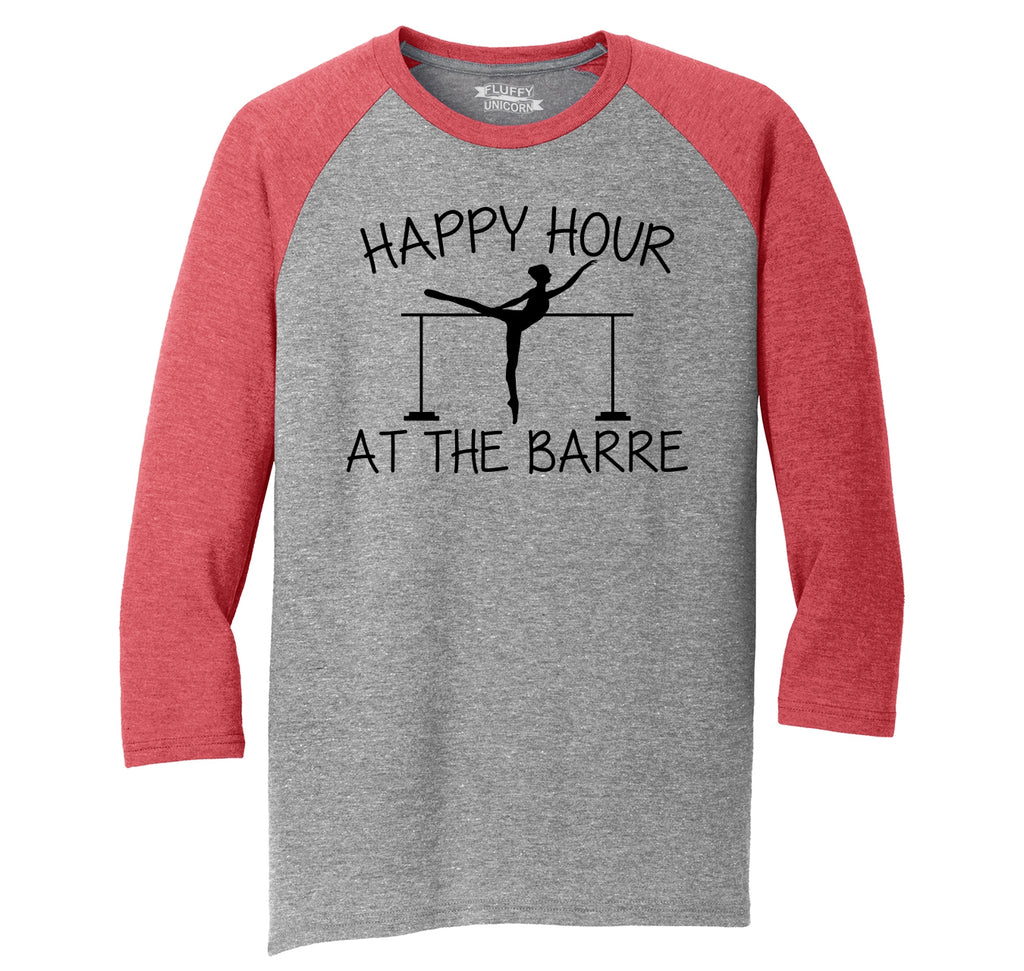 Happy Hour At The Barre Mens Tri-Blend 3/4 Sleeve Raglan