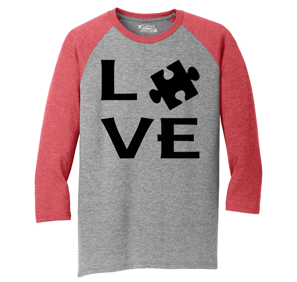 Love Autism Awareness Tee April Autism Event Puzzle Tee Mens Tri-Blend 3/4 Sleeve Raglan