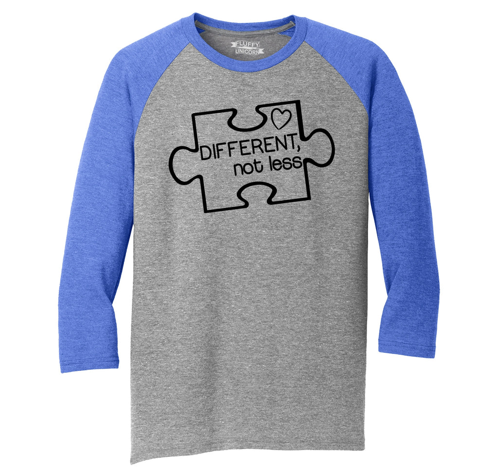 Different Not Less Austism Awareness Mens Tri-Blend 3/4 Sleeve Raglan