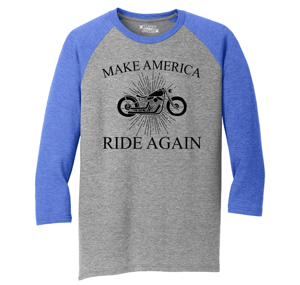 Make America Ride Again Mens Tri-Blend 3/4 Sleeve Raglan