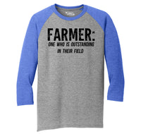 Farmer One Who Is Outstanding In His Field Mens Tri-Blend 3/4 Sleeve Raglan