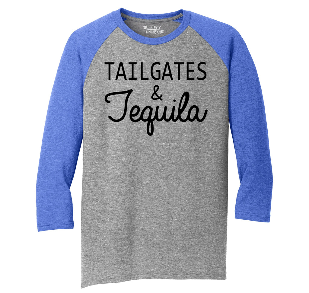 Tailgates and Tequila Mens Tri-Blend 3/4 Sleeve Raglan