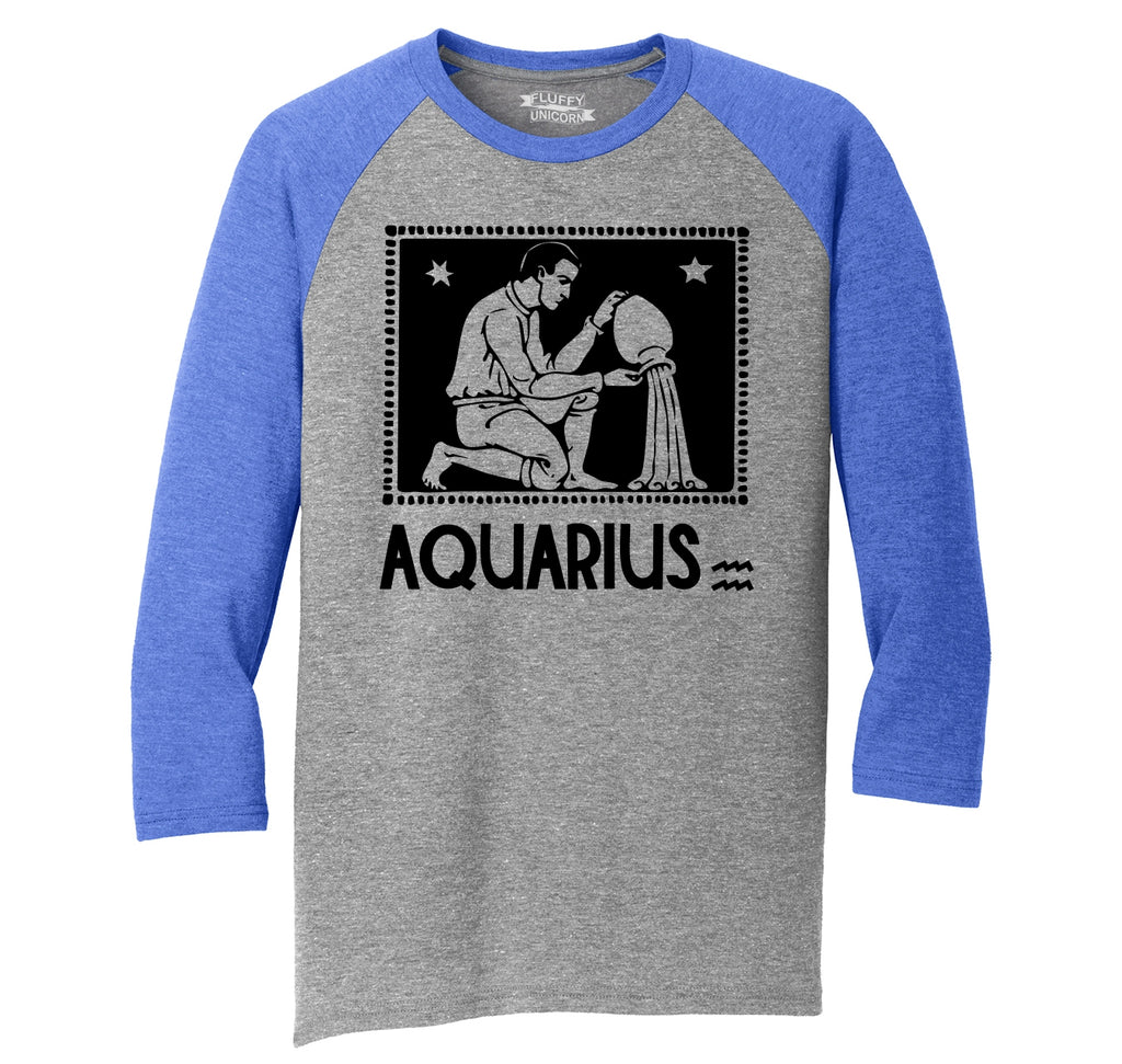 Horoscope Aquarius Tee Mens Tri-Blend 3/4 Sleeve Raglan