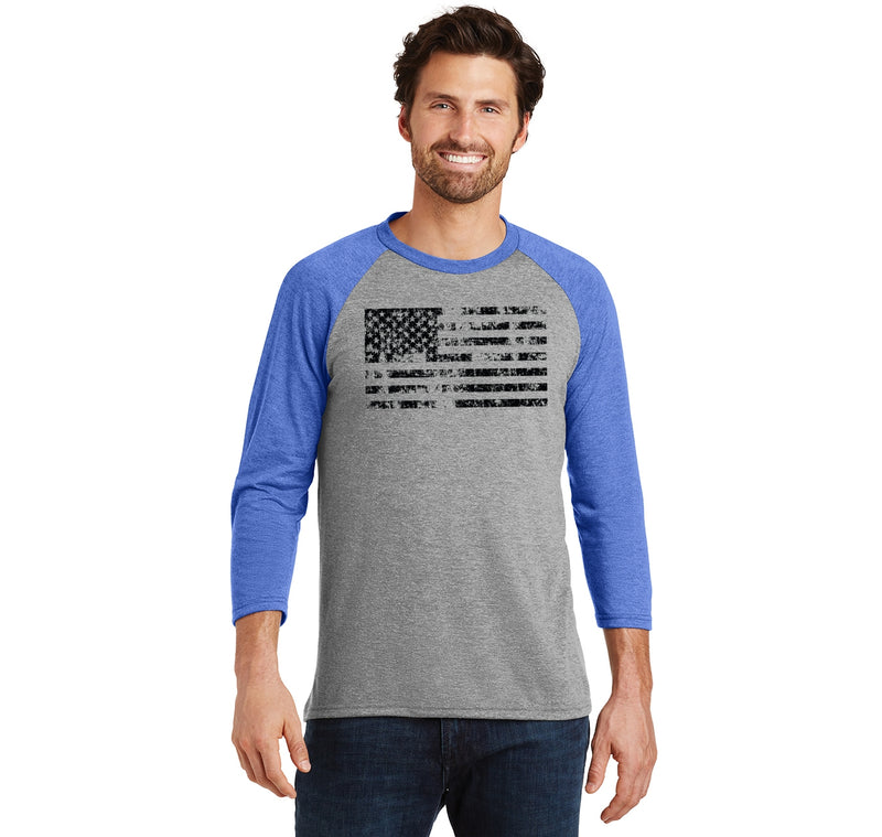 Distressed American Flag Patriotic July 4th Shirt Mens Tri-Blend 3/4 Sleeve Raglan