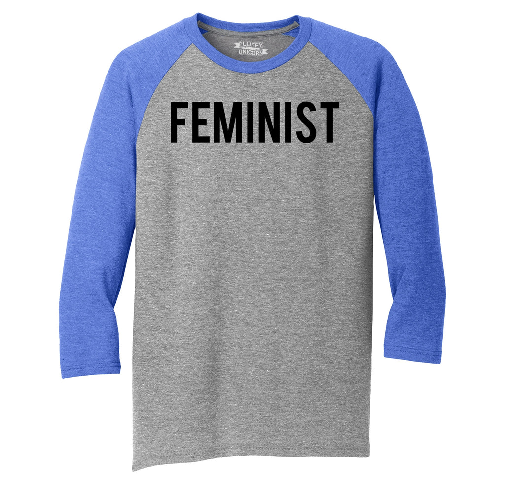 Feminist T Shirt Woman Rights Political Protest Tee Mens Tri-Blend 3/4 Sleeve Raglan