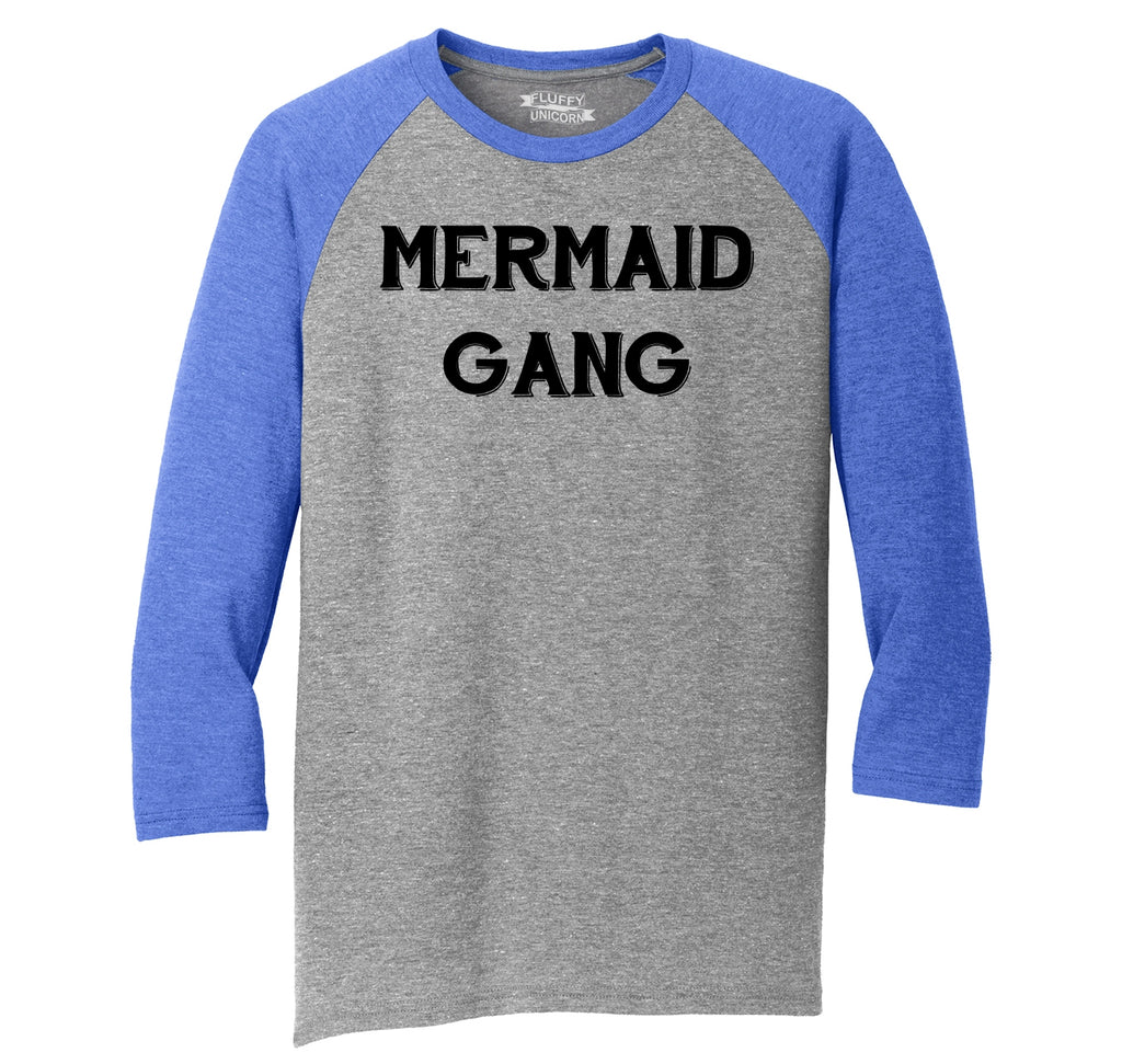 Mermaid Gang Mens Tri-Blend 3/4 Sleeve Raglan