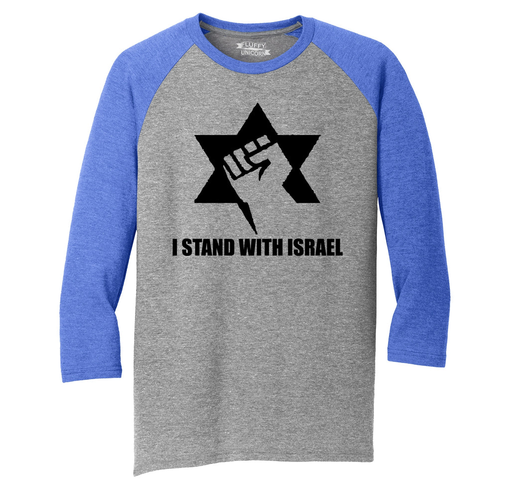 I Stand With Israel T Shirt Israeli Pride Support IDF Rally Political Tee Mens Tri-Blend 3/4 Sleeve Raglan