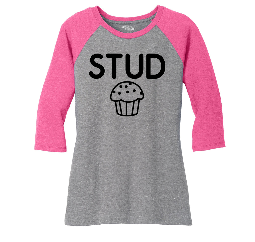 Stud Muffin Funny Tee Cute Boyfriend Gift Tee Ladies Tri-Blend 3/4 Sleeve Raglan