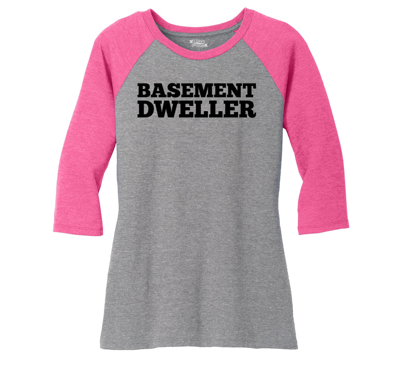Basement Dweller Anti Hillary Bernie Sanders for President Tee Ladies Tri-Blend 3/4 Sleeve Raglan