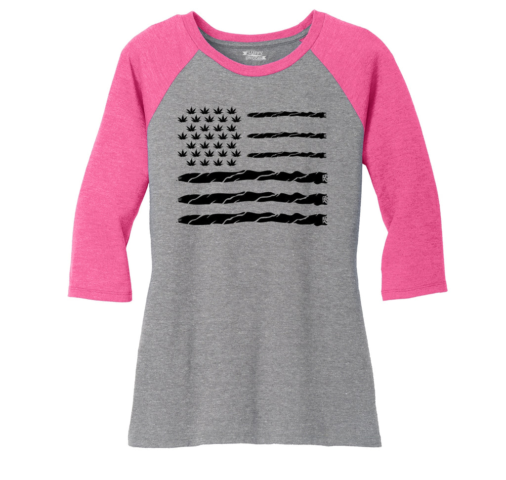 Weed Joint American Flag Ladies Tri-Blend 3/4 Sleeve Raglan