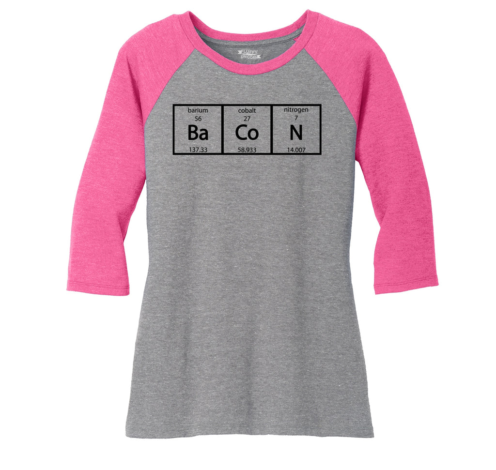 Bacon Periodic Table Ladies Tri-Blend 3/4 Sleeve Raglan